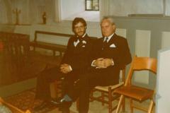 Bryllup i Bogø kirke - Far og Jack venter på at Marie- Louise dukker op, 03.09.1977